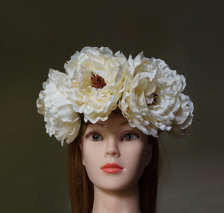 Flower Crown Peony Wedding Wreath Floral Headband Bridal Crown