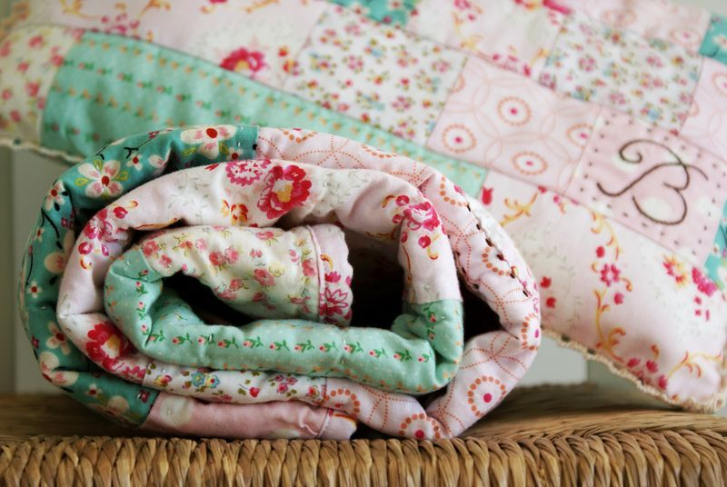 handmade baby quilt for a girl, by nanaCompany, B112