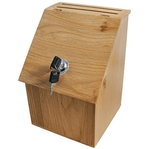 Wood Suggestion Box Ballot Box Locking Hinged Lid For