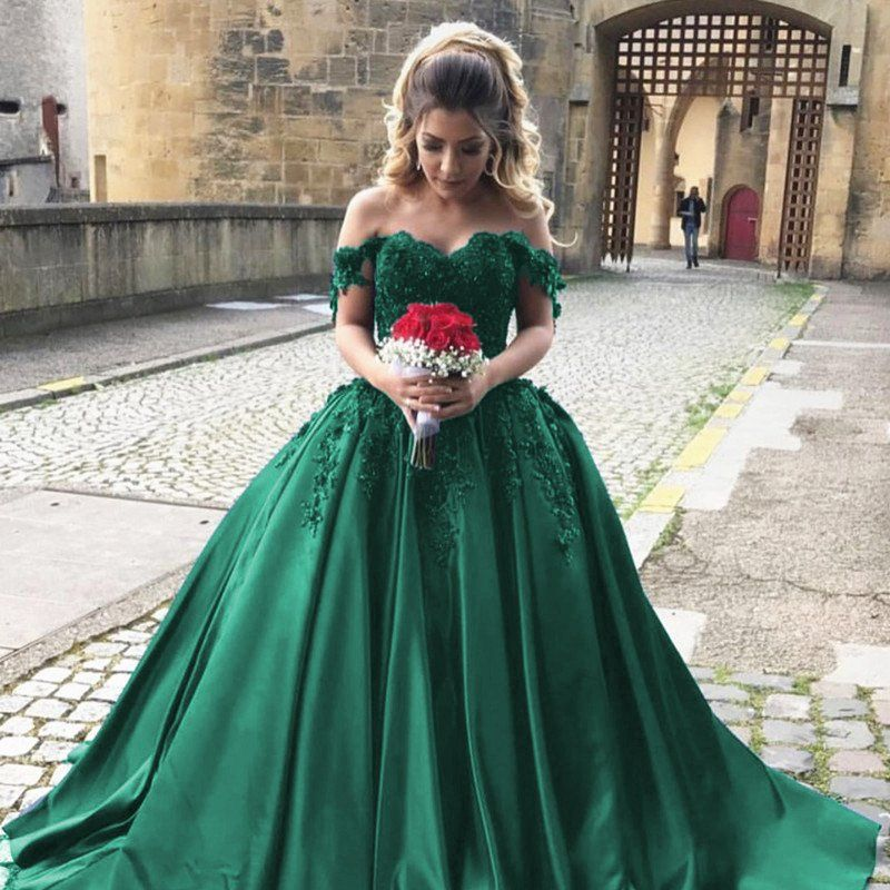 Hunter Green Wedding Dresses Satin Prom Dresses Ball Gowns Off Shoulder Dress Green Quinceanera D Ball Dresses Wedding Gown Off Shoulder Prom Dresses Ball Gown