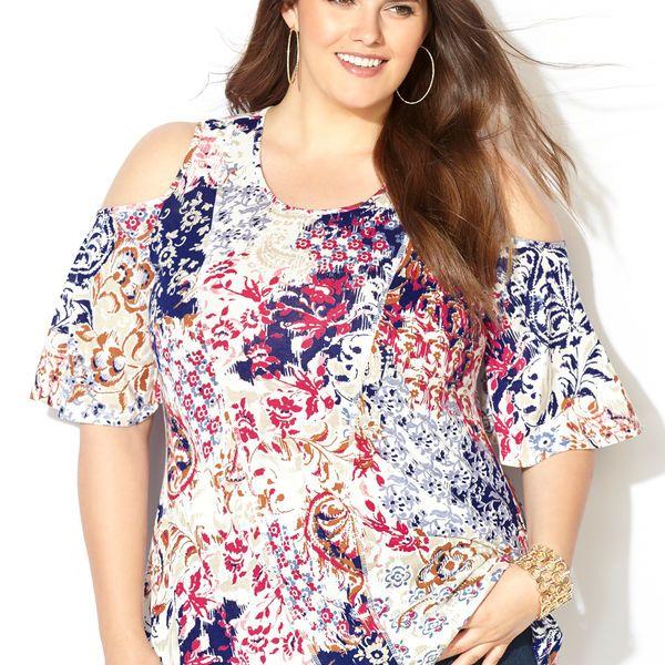 3a1f6cedc8bdd Floral Paisley Cold Shoulder Top-Plus Size Top-Avenue