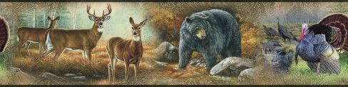 DEER BEARS TURKEYS WALLPAPER BORDER Wild Animals Wall Decor Peel /& Stick