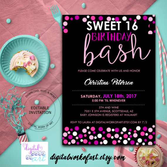 Sweet 16 Birthday Party Invitation Template, DIY Editable Sweet 16 Birthday, 16th Birthday, Digital
