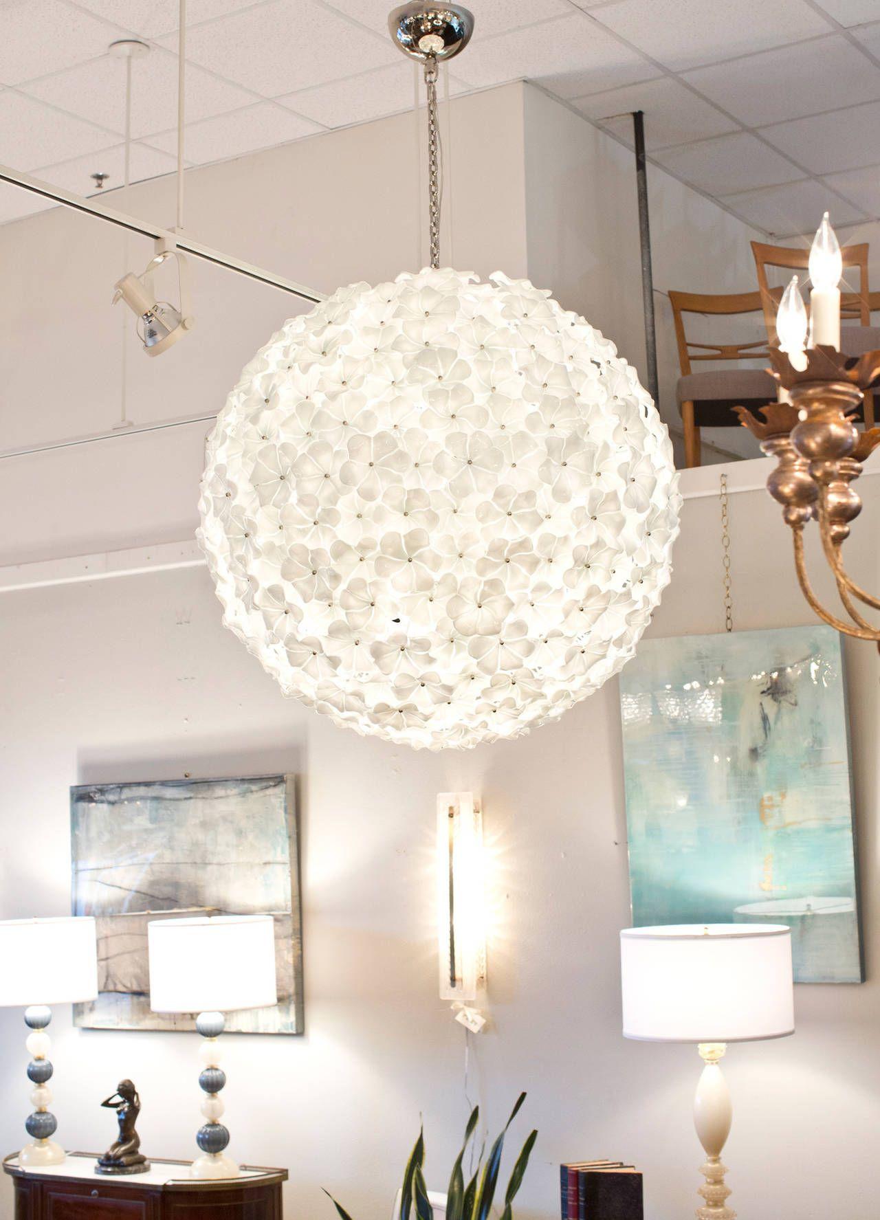 Monumental Murano Glass Flower Chandelier By Cenedese
