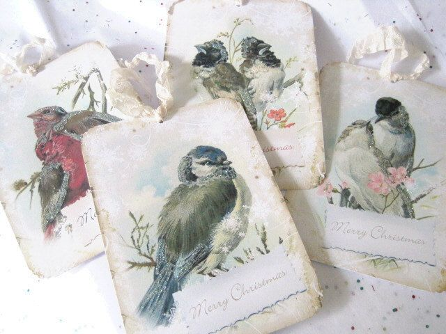 Christmas Winter Birds Gift Tags No231 - Holiday - Vintage - Merry Christmas - Red Birds - Snow Birds - Glitter - Buy 3 Get 1 Free. $5.75, via Etsy.