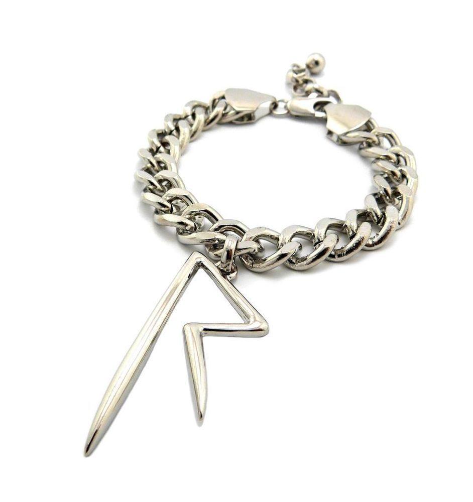 Womens Rihanna Navy Rated R Cuban Link Charm Bracelet Celebrity Silver