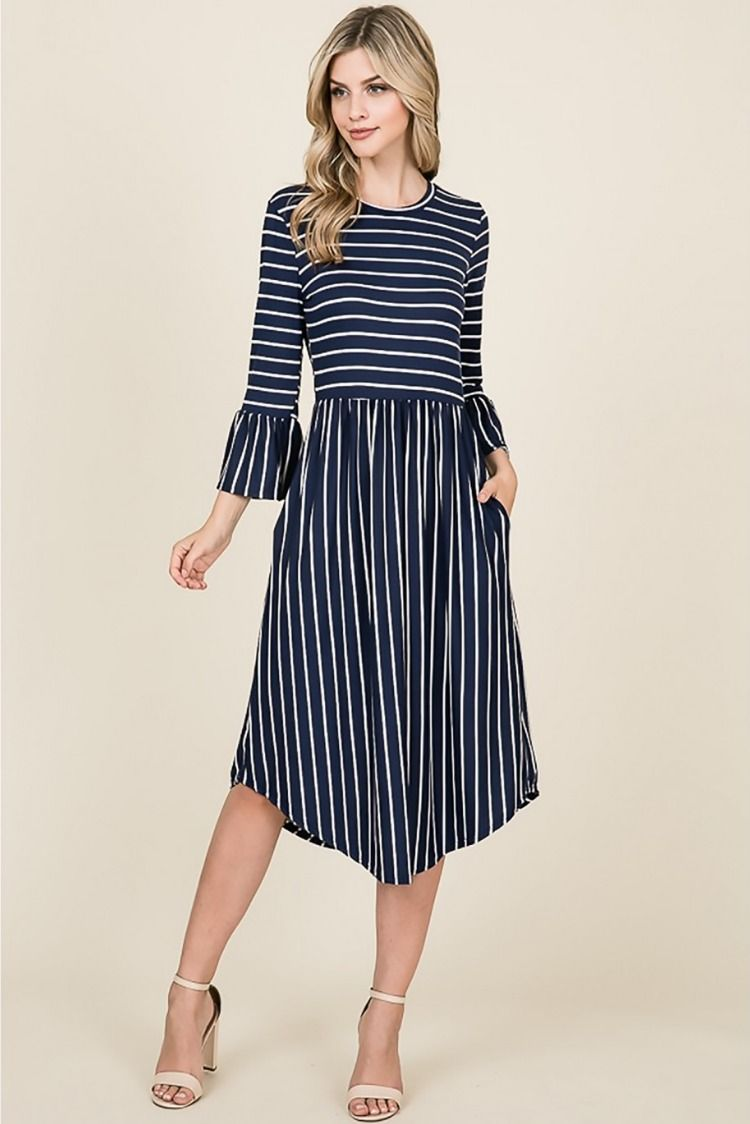 7a2c456d75049 he Sonia Striped Dress With Bell Sleeves & Pockets features 3/4 bell sleeves,  round hem & pockets.#modest#modesty#modestdresses#stripes