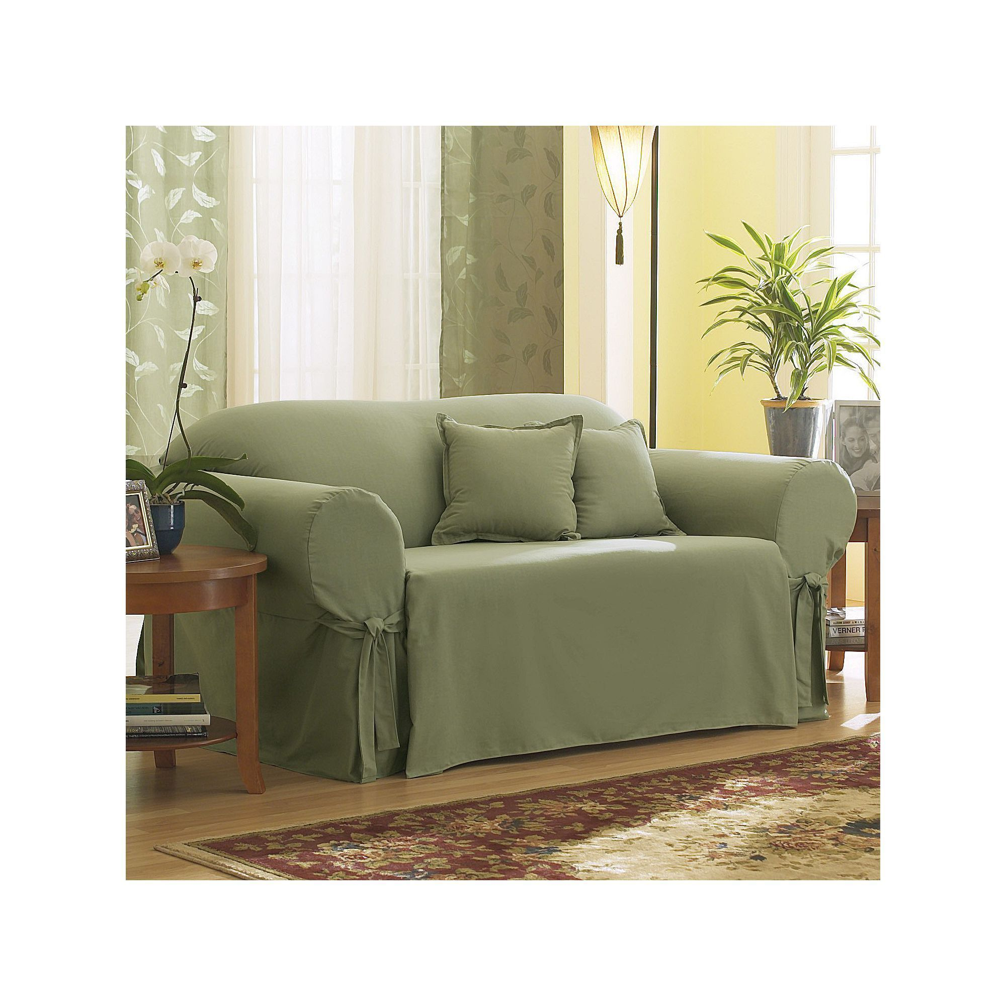 Terrific Sure Fit Solid Duck Cloth Sofa Slipcover Green In 2019 Alphanode Cool Chair Designs And Ideas Alphanodeonline