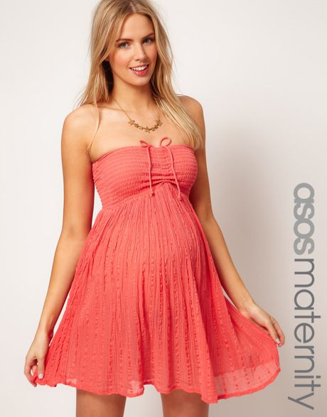 6625948bcd75 Women s Pink Asos Maternity Cheesecloth Bandeau Dress