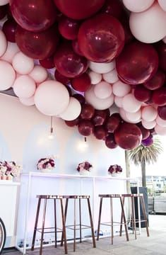 Pink balloon filled first birthday also party ideas in rh pinterest