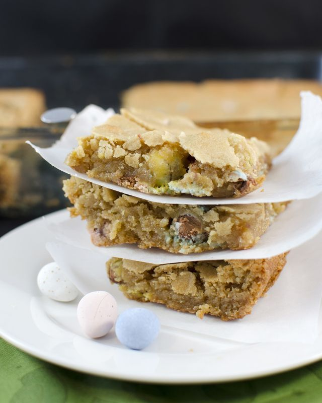 cadbury eggs inside these blondies take the creation just one step further into deliciousness.