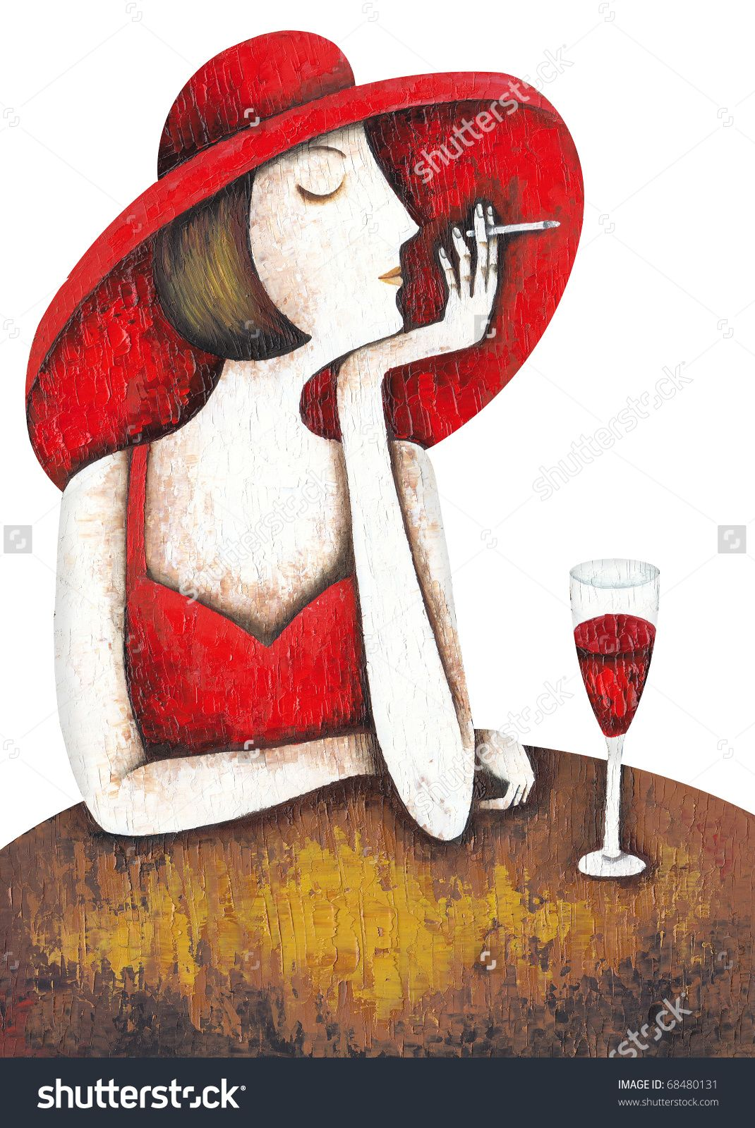 Portrait Of Beautiful Woman With Glass Red Wine By Eugene Ivanov Eugeneivanov Elegant Woman Portrait Lad Wine Painting Cross Paintings Arts Crafts Sewing