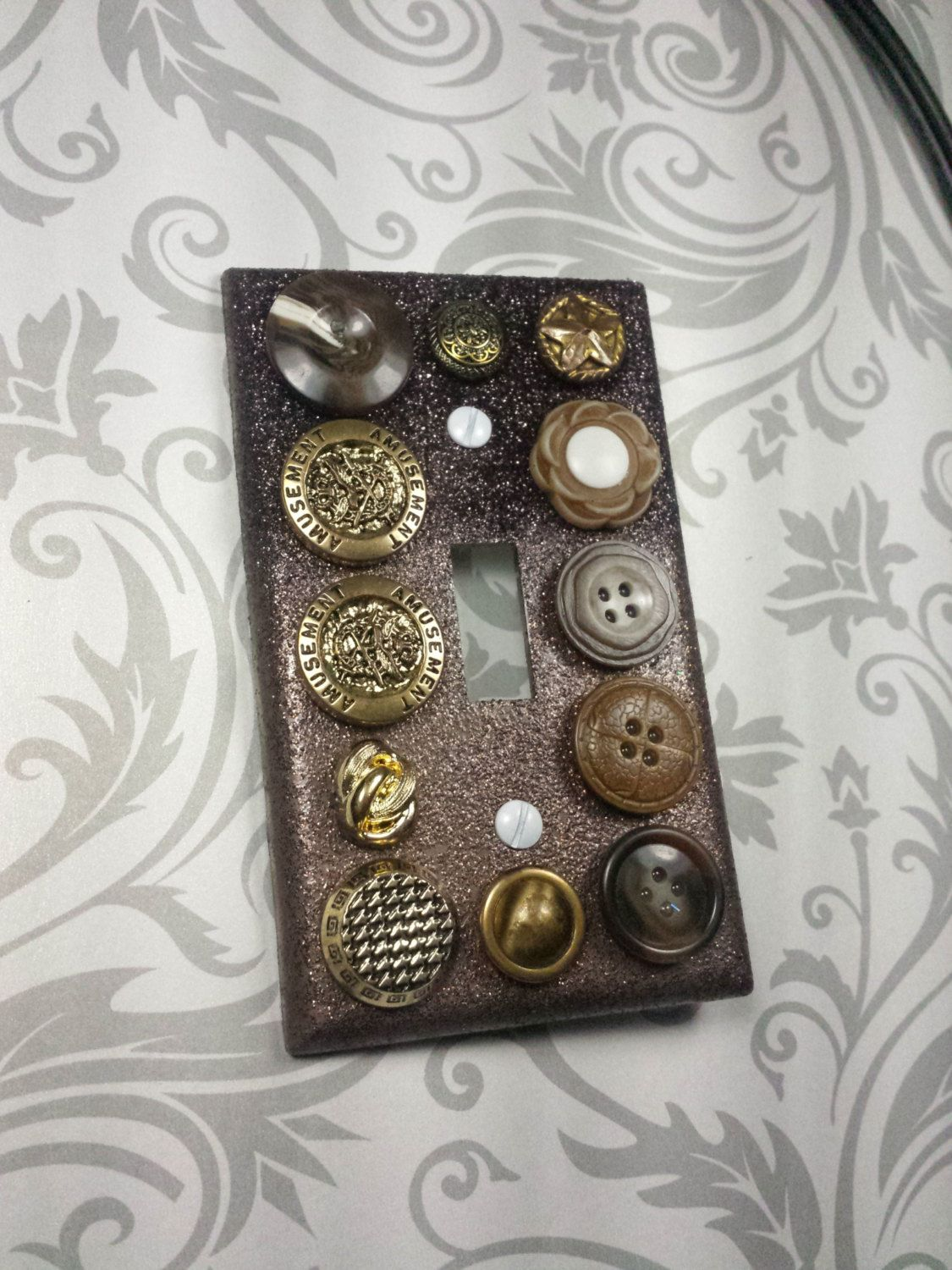 Vintage Light Switch Plate Covers Glitter Light Switch Plate Cover Embellished With Vintage Buttons