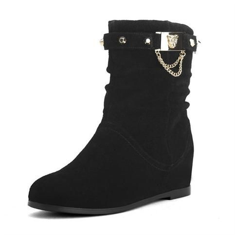 black boots,Leather metal decoration womens boots,biker boots from Boutiquewomenshopping
