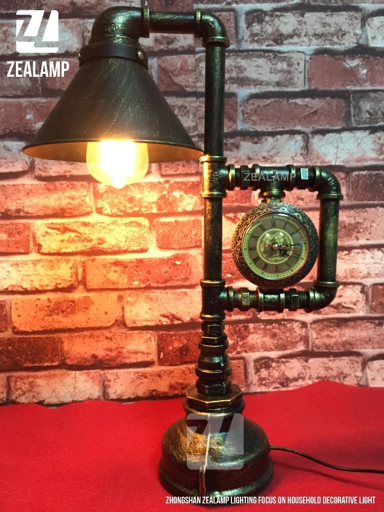 industrial style pipe lights steampunk pipe table lamp edison lamp with metal shade and clock. Black Bedroom Furniture Sets. Home Design Ideas