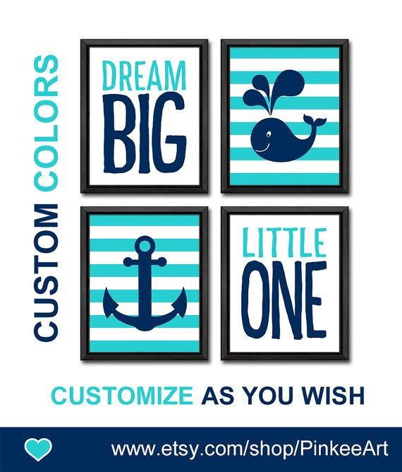Dream Little One Nautical Nursery Art Baby Decor New Gift Whale Anchor