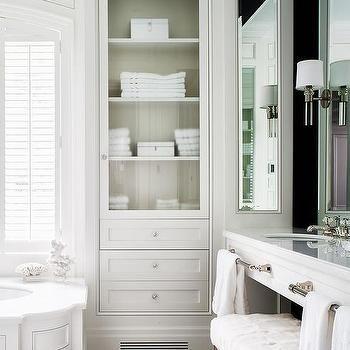 Wainscoted Tub With Glass Door Inset Linen Cabinet Bathroom Storage Cabinet Diy Bathroom Storage Diy Bathroom