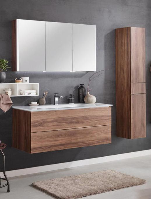 Braunes Badmobel Set Mit Spiegel Fur Des Perfekten Badezimmer