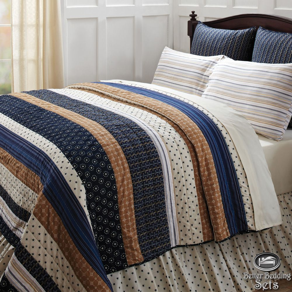 Nautical Blue Brown Stripe Twin Queen Cal King Quilt Bedding Set Accessories Ebay Quilt Sets Bedding King Quilt Bedding Bedding Set Brown and blue king size comforter sets