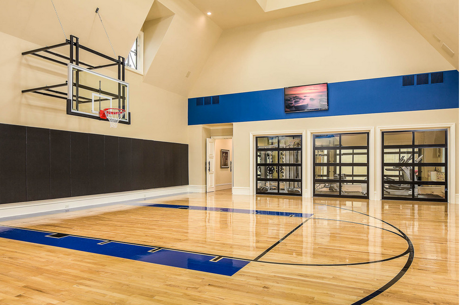 Indoor basketball courts homes of the rich the web 39 s for Indoor basketball court for sale
