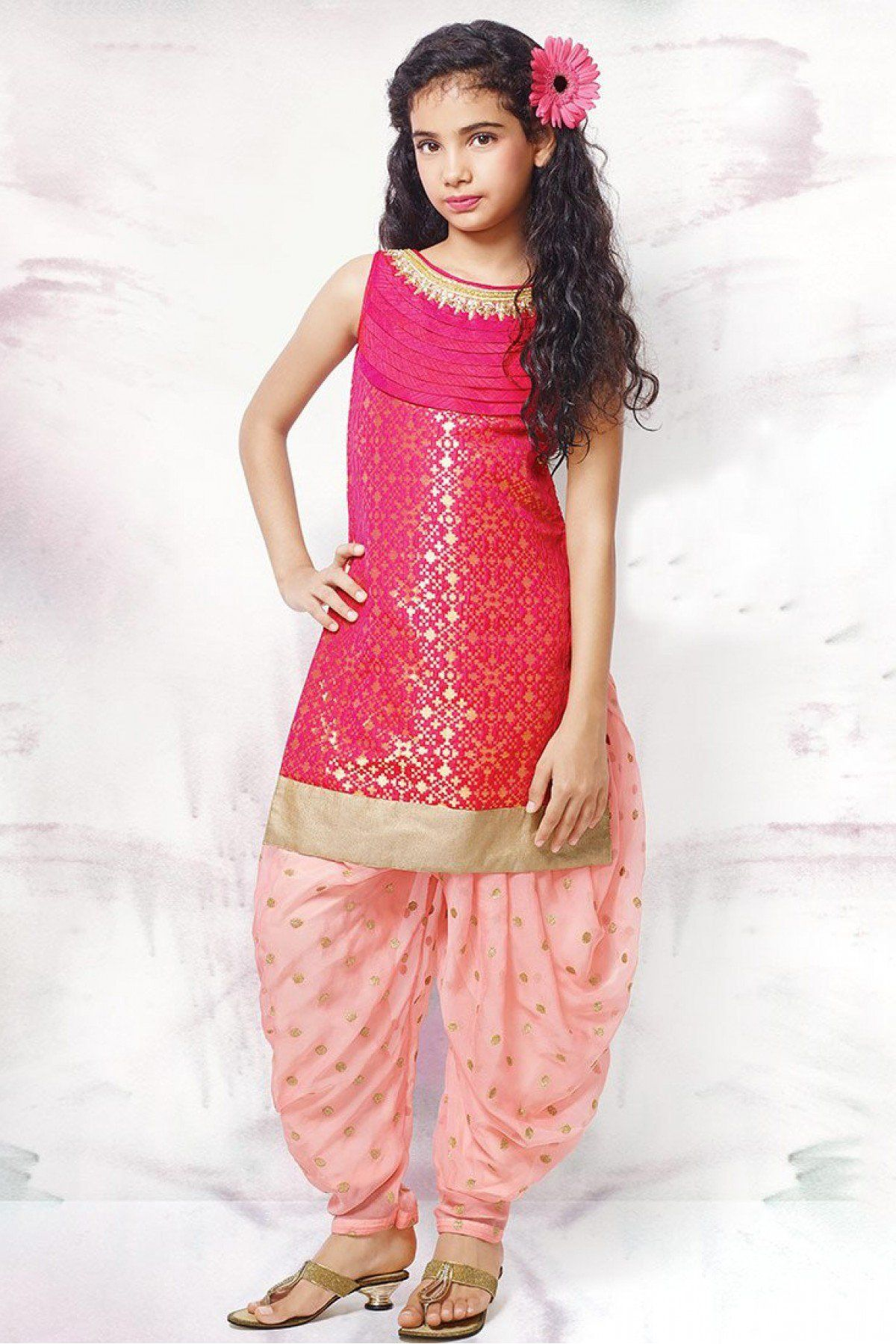 Chanderi And Taffeta And Jacquard Party Wear Patiala Suit