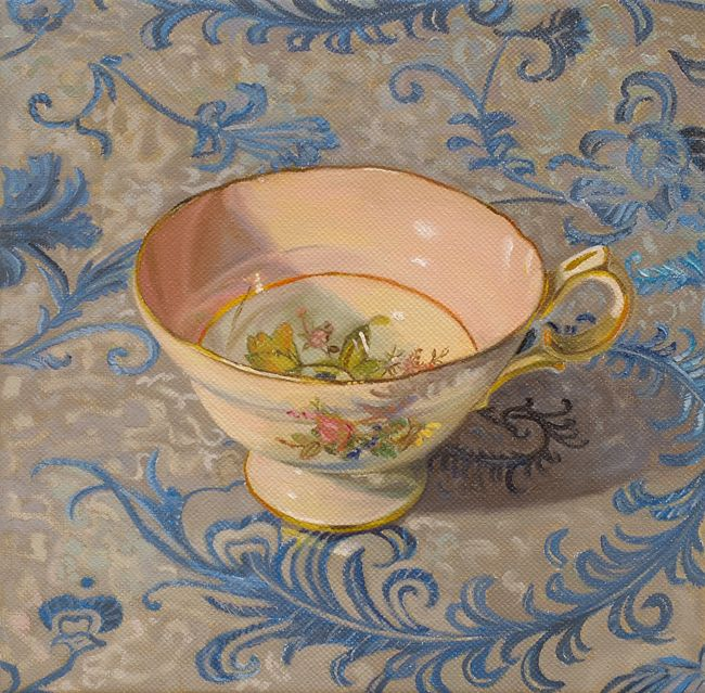 Small Art Canvas Print of Coalport Cairo English Teacup Oil Painting by Sharey Monk Museum Wrap Giclee Print 6 x 7.5 WALL ART