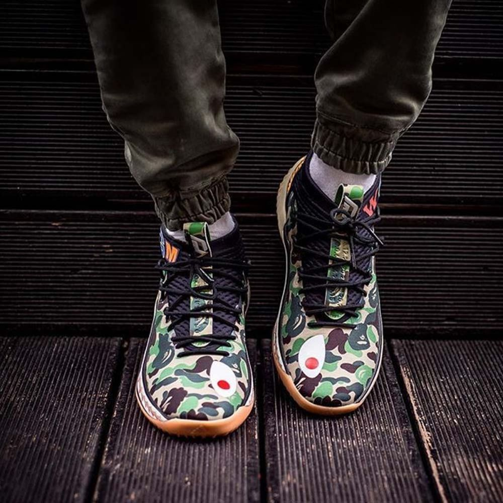 best sneakers 18cbc e8713 Details about Bape (A Bathing Ape) x Adidas Dame 4 Green ...