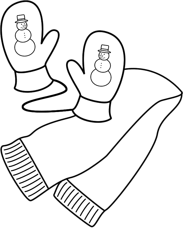 Scarf And Mittens Coloring Page Clothing Coloring Pages Winter Coloring Pages Mittens