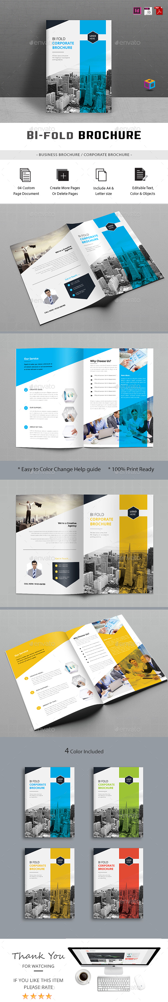 Bifold Brochure Template InDesign INDD … | Pinteres…