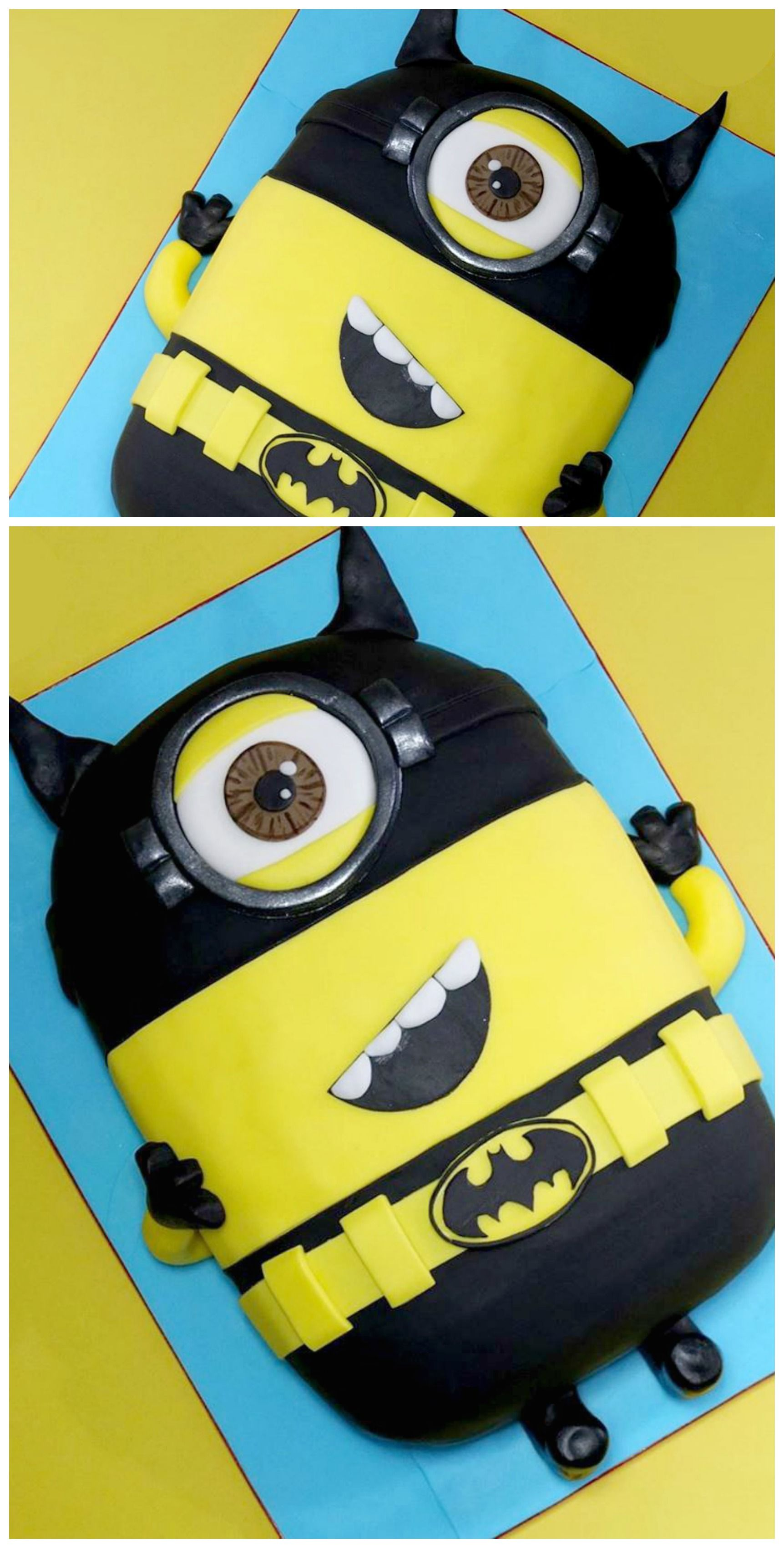 how to make a 3d minion batman cake robbys 3rd birthday pinterest fondant torten fondant. Black Bedroom Furniture Sets. Home Design Ideas
