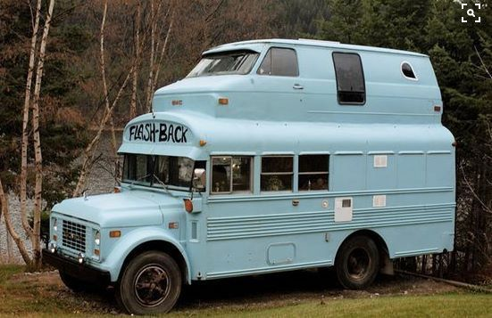 Deadhead camper vw bus grafted on top of an old school bus