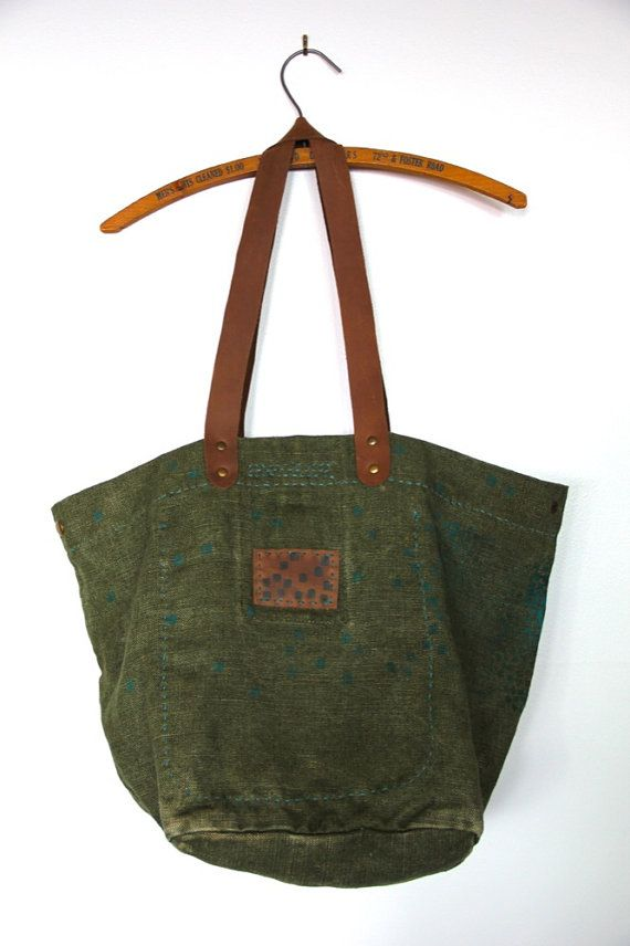 vintage french linen canvas bag by leileialoha, on etsy