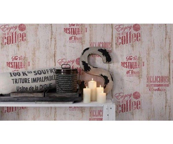 Carta da parati cucina Caffè Legno red | Carta da parati per ...