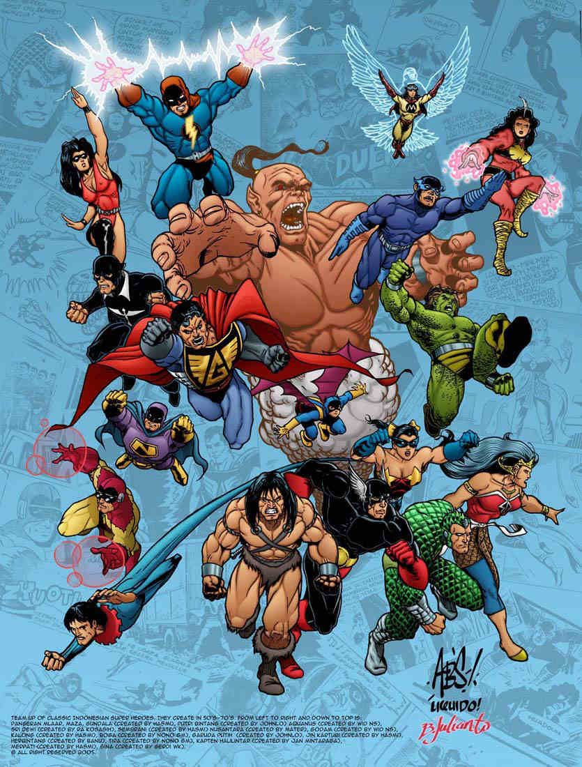 Superheroes Team Up Of Classic Indonesian Superheroes Created Between The S