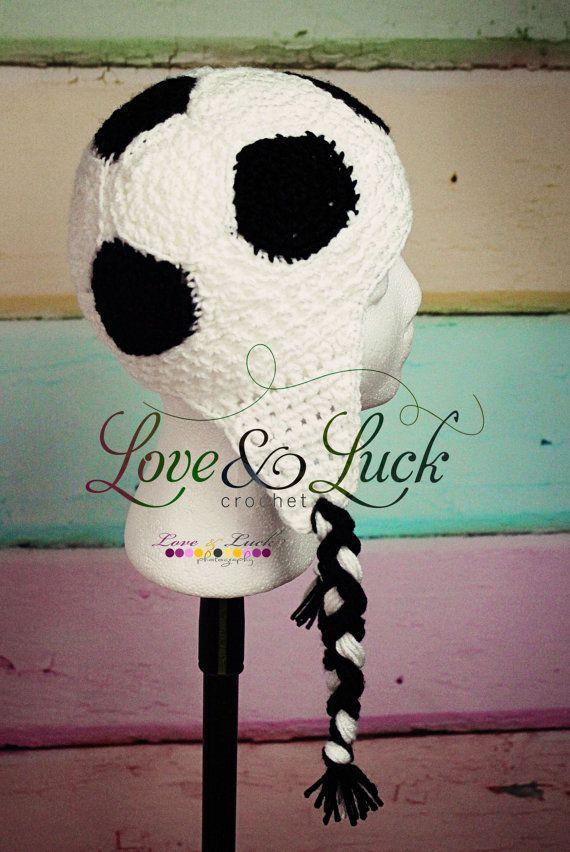 Soccer+Ball+Ear+Flap+Hat+Foot+ball+Crochet+by+LoveandLuckCrochet,+$ ...