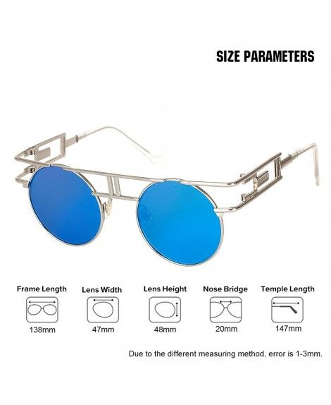 6a2bc207c68 Sunglasses Reflective Vintage Steampunk - Silver Frame With Blue ...