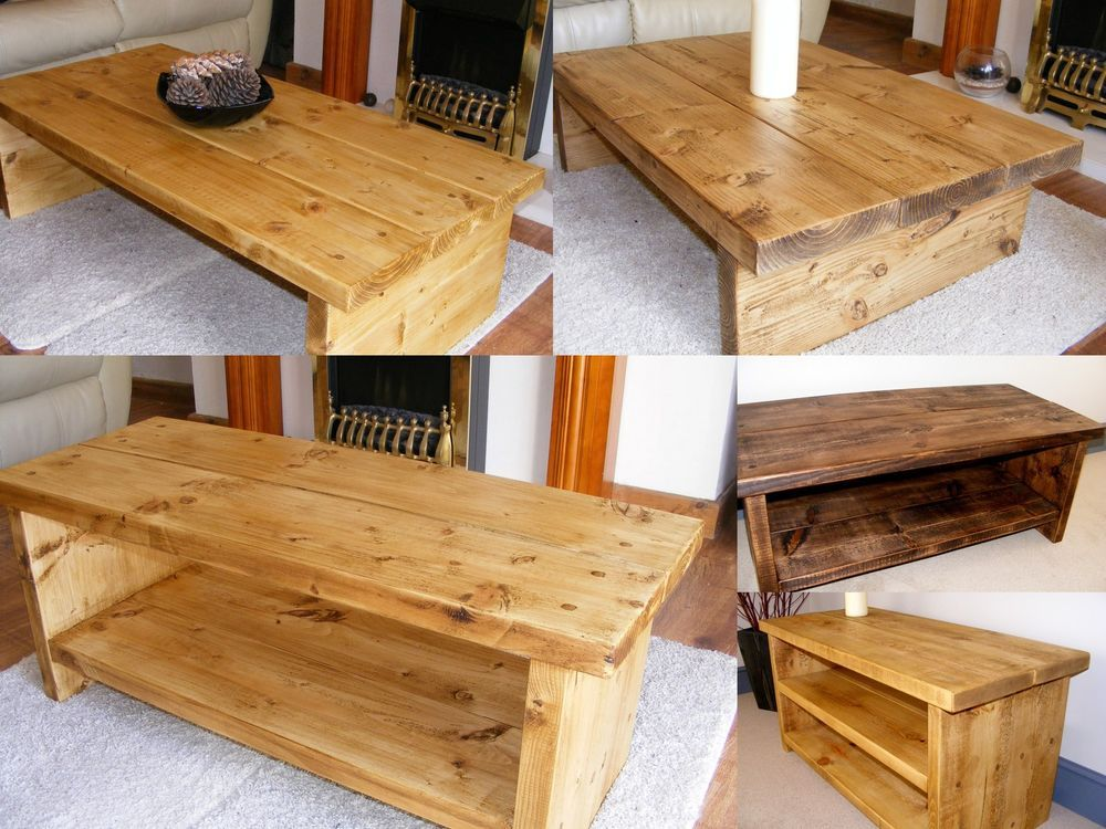 RUSTIC CHUNKY COFFEE TABLE, TV STAND, SIDE TABLE HANDMADE WOOD £155
