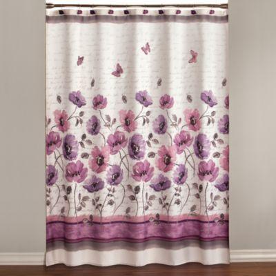 Floral Waltz 70 Inch X 72 Inch Shower Curtain Purple Shower
