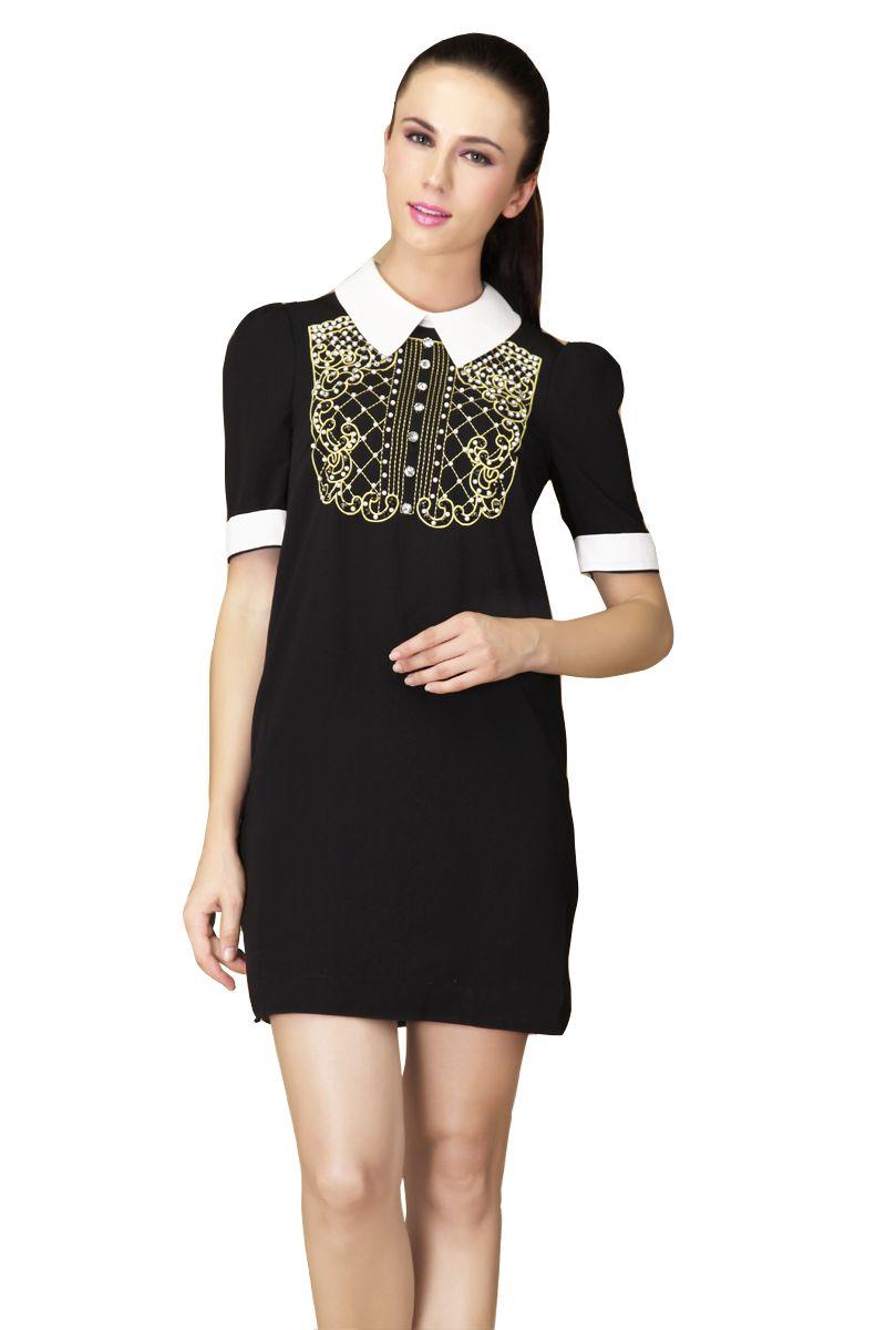 Black short sleeve back zipper bead rhinestone dress vintage