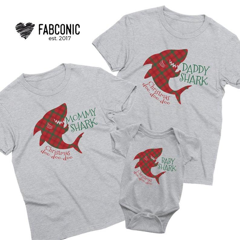 Christmas Family Shark Shirts, Matching Christmas Family