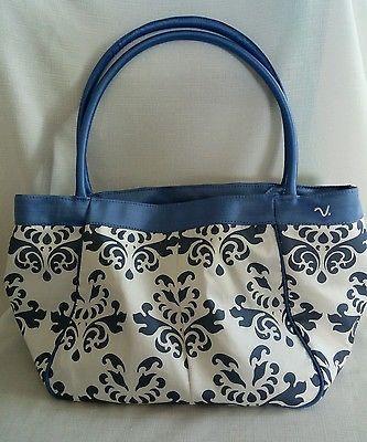 Claire V Silk Purse Blue White Toile Beautiful Elegant Tote Bag