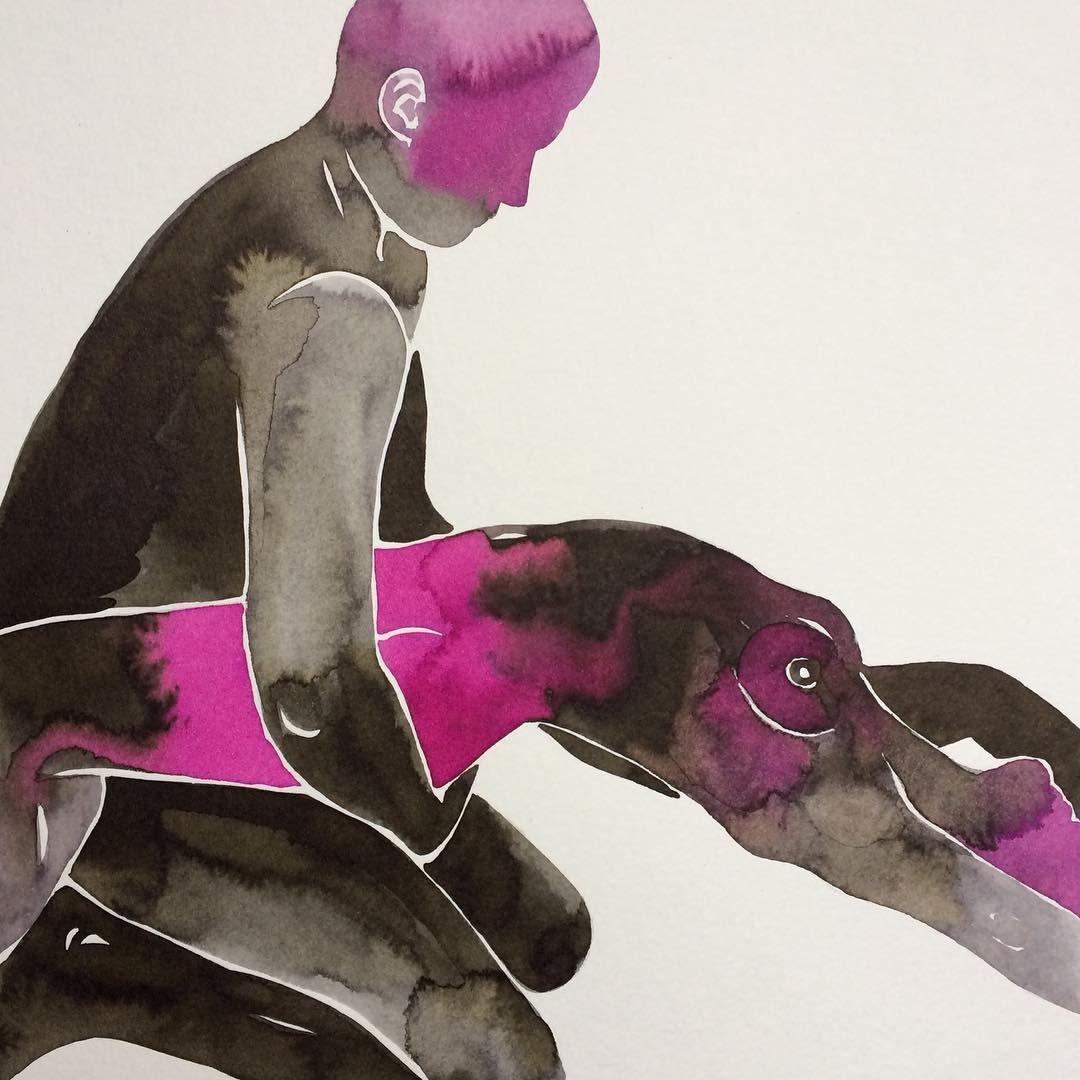 The cosmic union... 💗  Make Love watercolor series No 57.