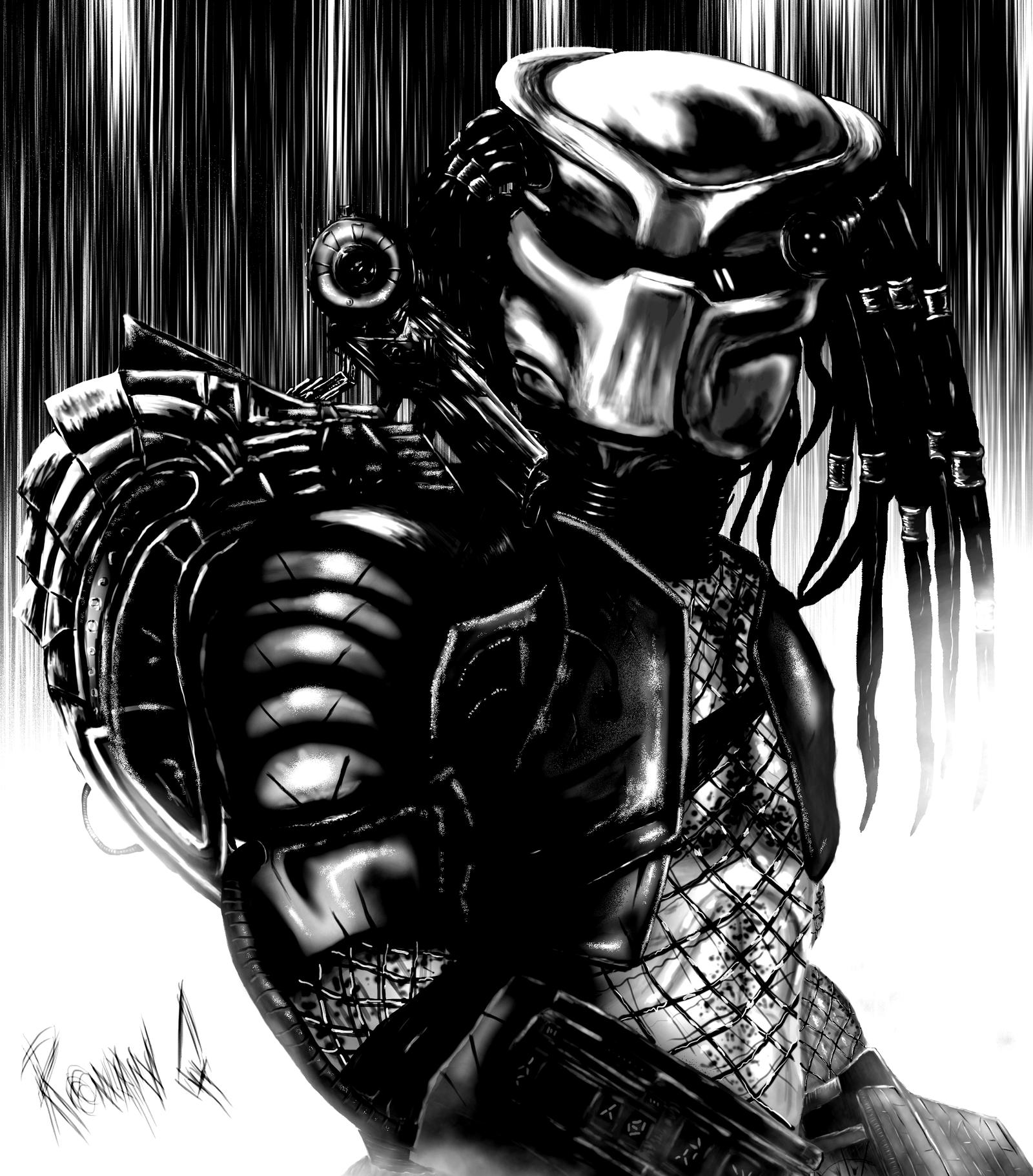 Predator black and white by ronanq on deviantart predator