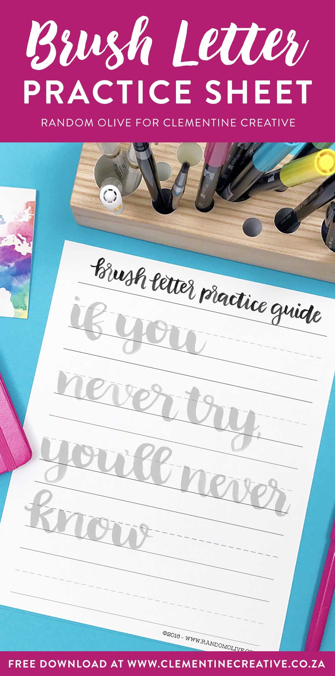 Free Brush Lettering Practice Sheet If You Never Try You Ll Never Know Hand Lettering Worksheet Free Brush Lettering Practice Sheets Brush Lettering Practice [ 2321 x 1150 Pixel ]