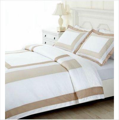 martha stewart bedding king duvet cover thompson square white and beige 200 - Martha Stewart Bedding