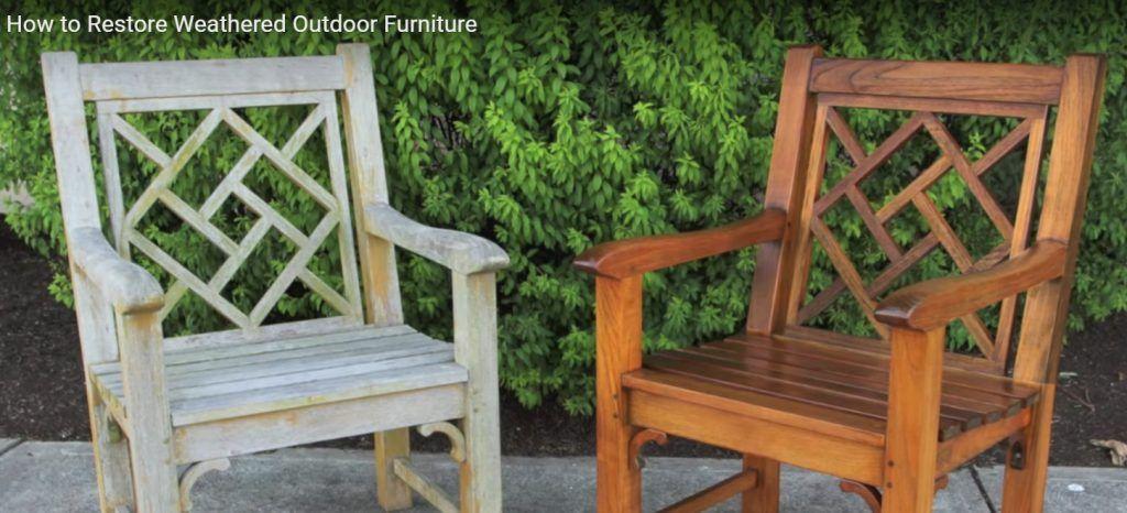 Weathered Teak Wood Outdoor Furniture