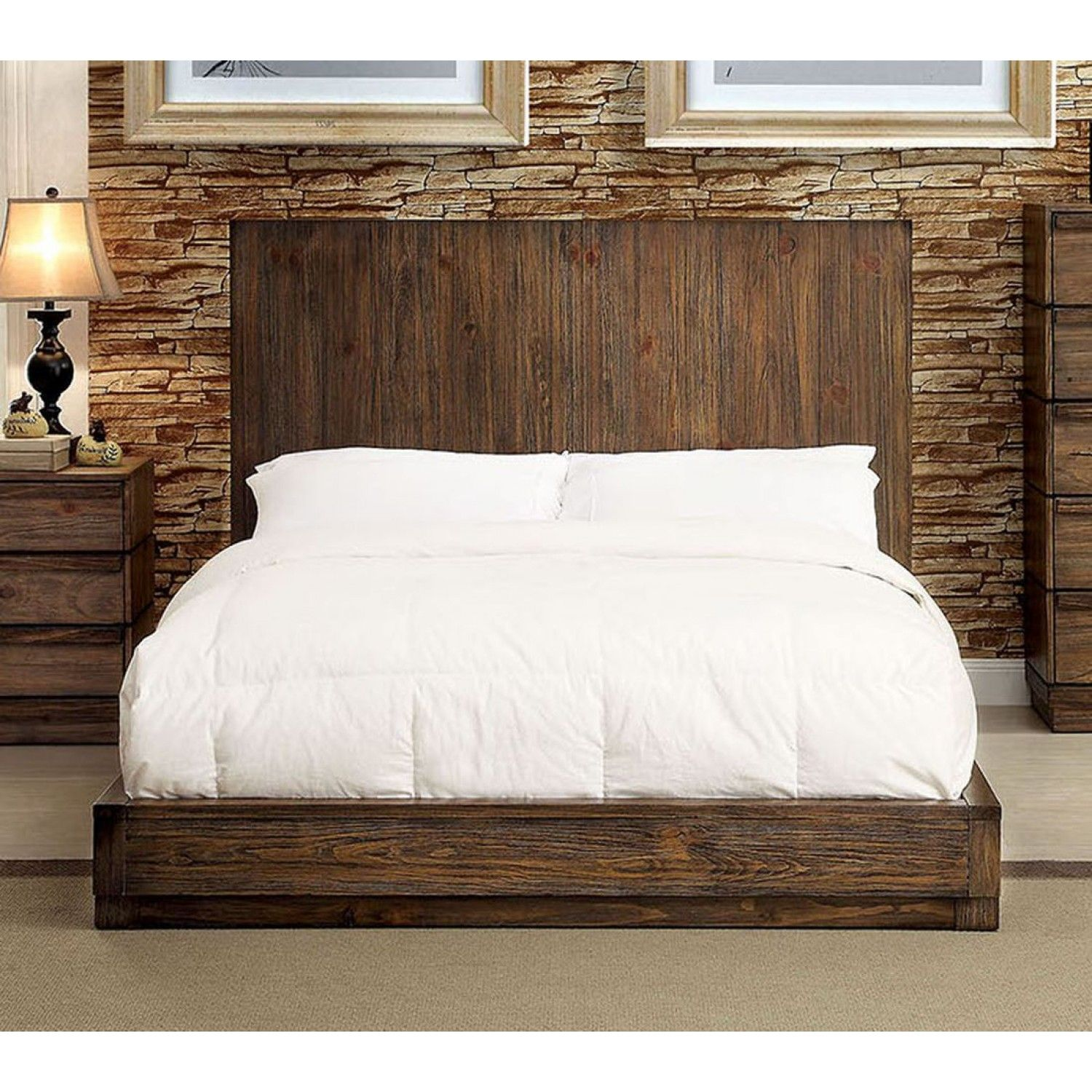 Furniture of America Amarante Queen Bed in Rustic Natural