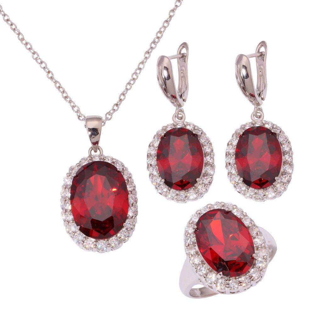Garnet zircon silver for women necklace pendant earrings ring