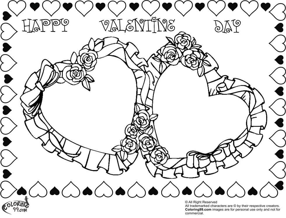 FREE double rose valentine heart coloring pictures | FREE ...