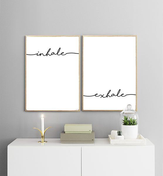 Inhale Exhale Printables Breath Print Yoga Black And White Typography Wall